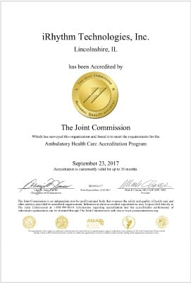 iRhythm Joint Commission Accreditation