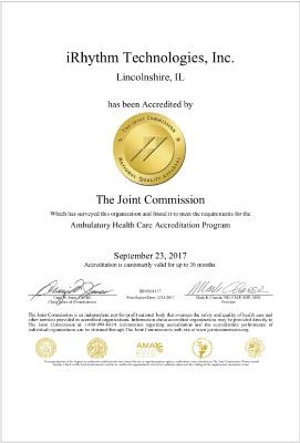 iRhythm Joint Commission Accreditation
