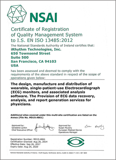 iRhythm Quality Management System NSAI Certificate