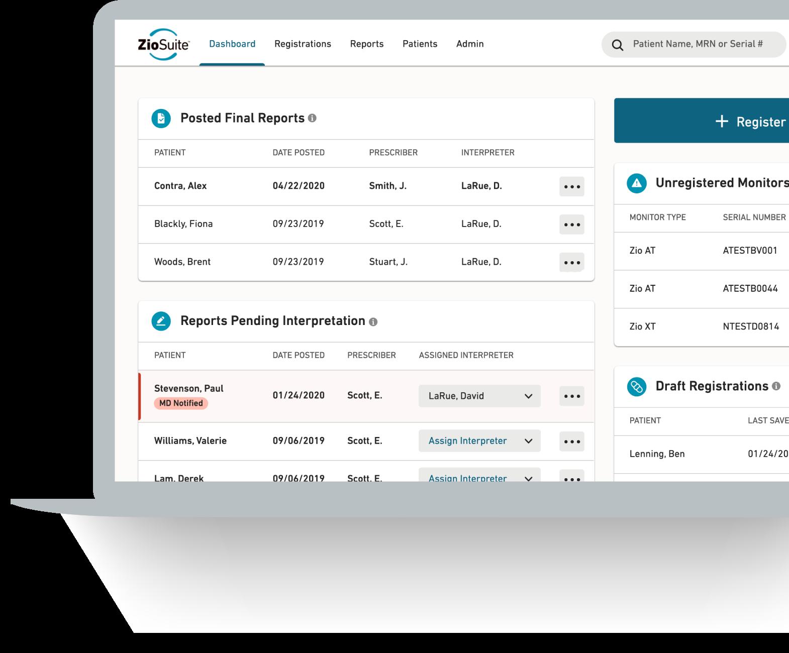 Dashboard of ZioSuite patient management portal on laptop